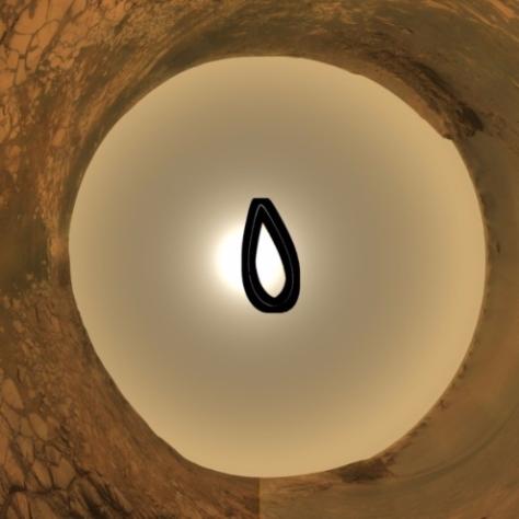 El rover Opportunity capturó esta analema se reflejen los movimientos del Sol durante un año marciano. Imágenes tomadas cada tres soles (días marcianos) entre julio 16, 2006 y el 2 de junio de 2008. Crédito: NASA / JPL / Cornell / ASU / TAMU