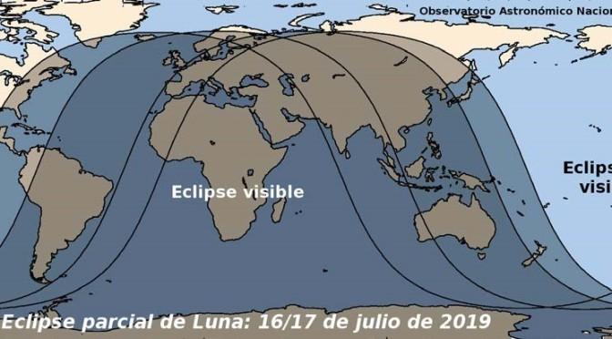 Eclipse parcial de Luna de los días 16 y 17 de julio de 2019